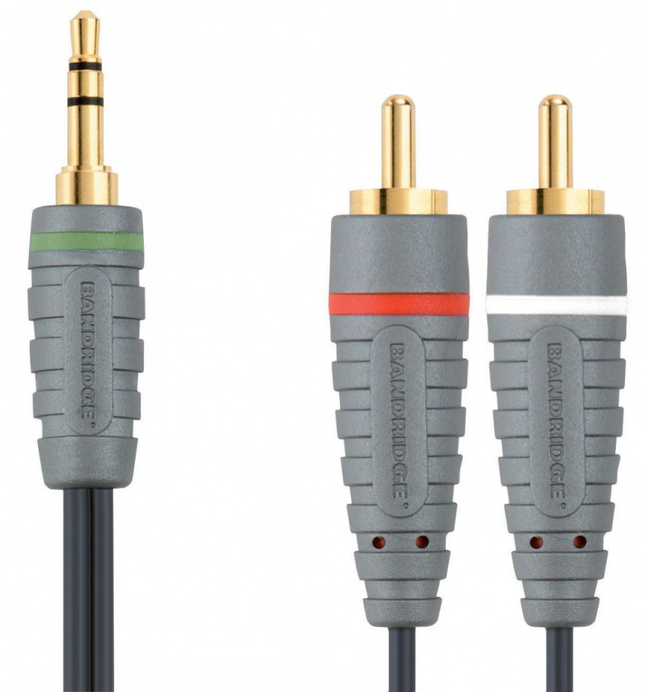 Bandridge BANDRIDGE 3.5mm-2xRCA Ljudkabel 1m
