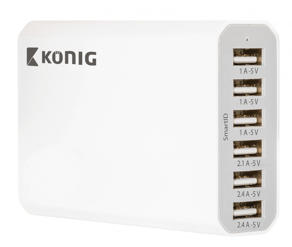König KÖNIG USB-Laddare 6 utgångar