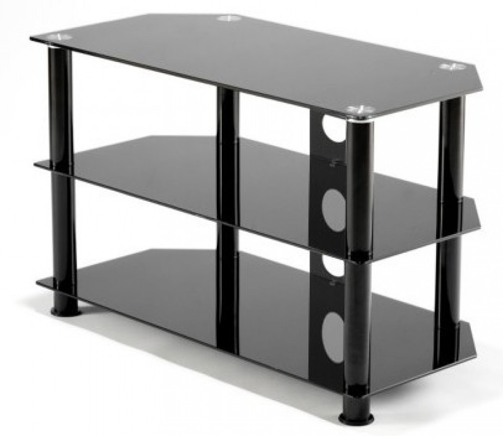 vriga tv m bel black glas 80cm kungstv. Black Bedroom Furniture Sets. Home Design Ideas