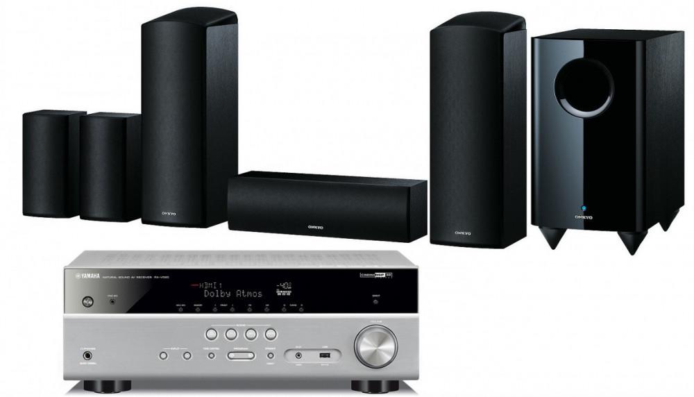 Yamaha RX-V585 med 5.1.2 Dolby Atmos Högtalar System Silver