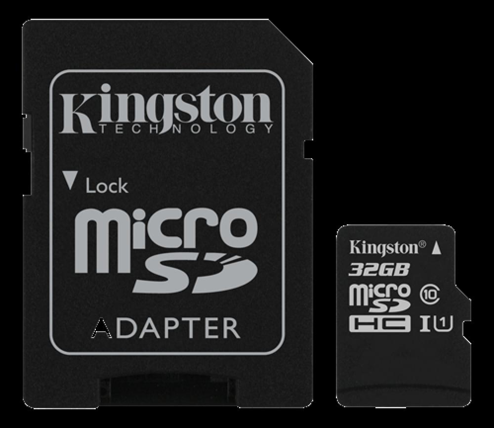 Kingston 32 GB MicroSD+adapter minneskort class 10 Canvas Select