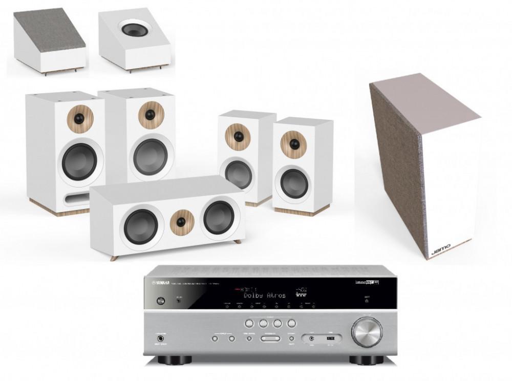 Yamaha Yamaha 7x115 Watt Reciver + Jamo Small 5.1.2 Dolby Atmos kit Silver - Vita Högtalare