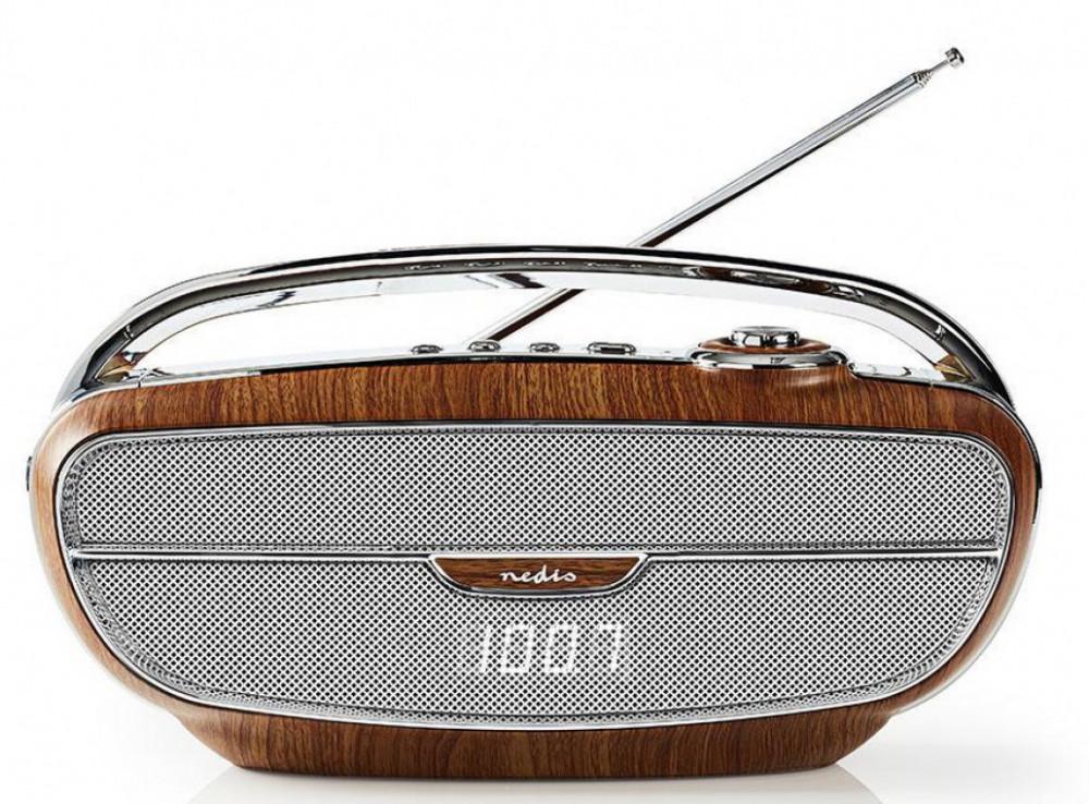 Nedis Retro Radio med Bluetooth RDFM-5310 Trä/silver