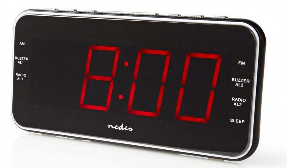 Nedis Väggmonteringsbar Klockradio CLARB004BK