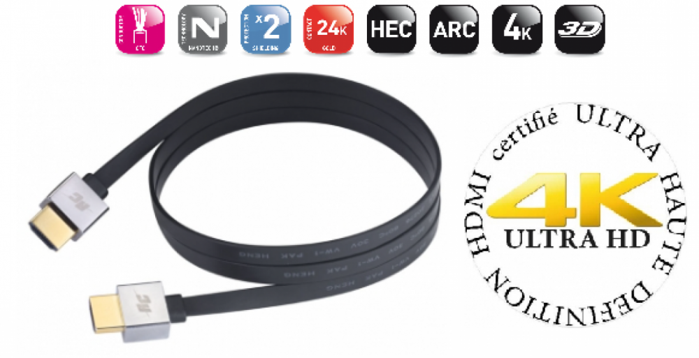 Real Cable HDMI ULTRA HD-2 flexibel kabel 1 meter