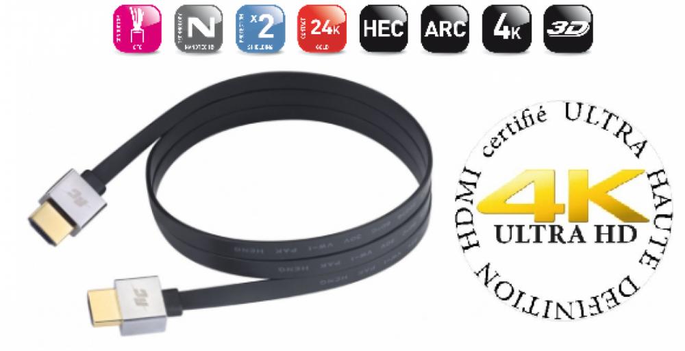 Real Cable HDMI ULTRA HD-2 flexibel kabel 2 meter