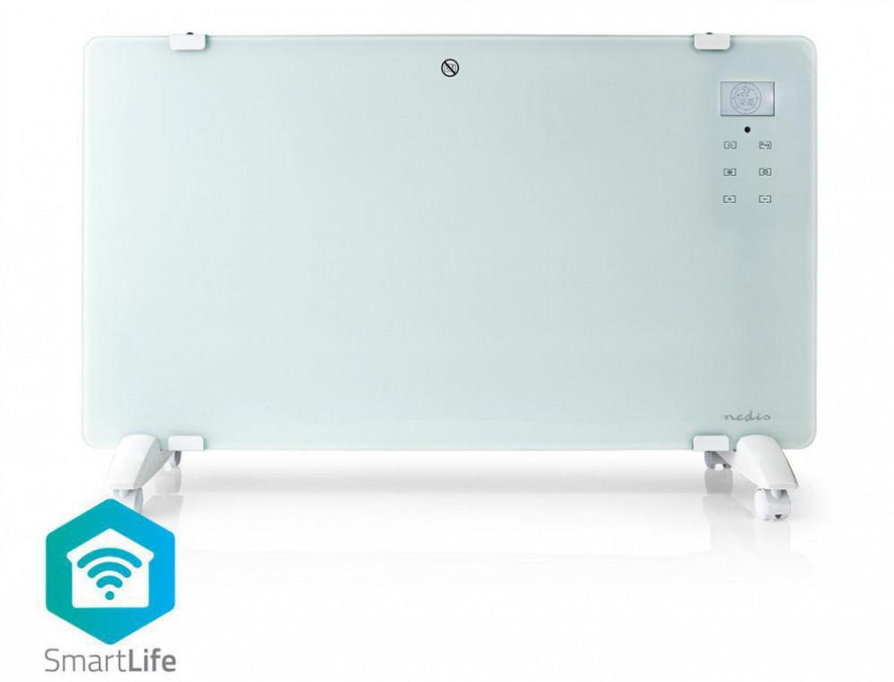 Nedis Smart-Hem WiFi Konvektionselement Vit i Glas 2000 watt WIFIHTPL20FWT