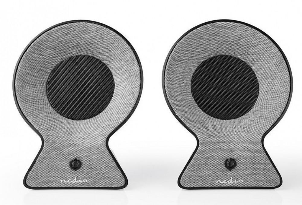 Nedis Helt Trådlösa Bluetooth Små Stereo Högtalare FSBS120GY Grå / Svart