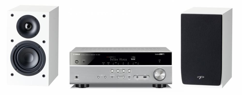 Yamaha RXV 2.0 Hemmabio-Musik System (utbyggbar 7.2) Silver + Vit