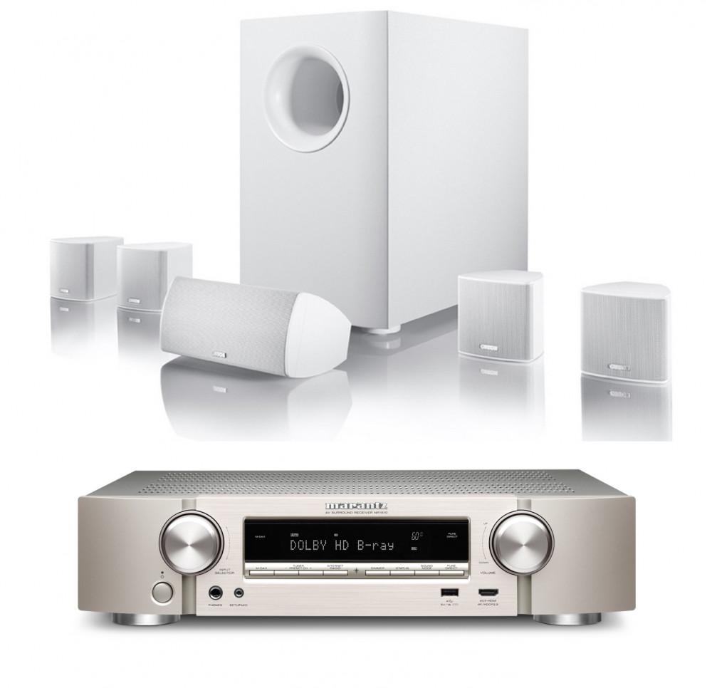 Marantz 5.1 Slimmad Power Reciver- Canton Small 5.1 Speaker kit Silver-Vit