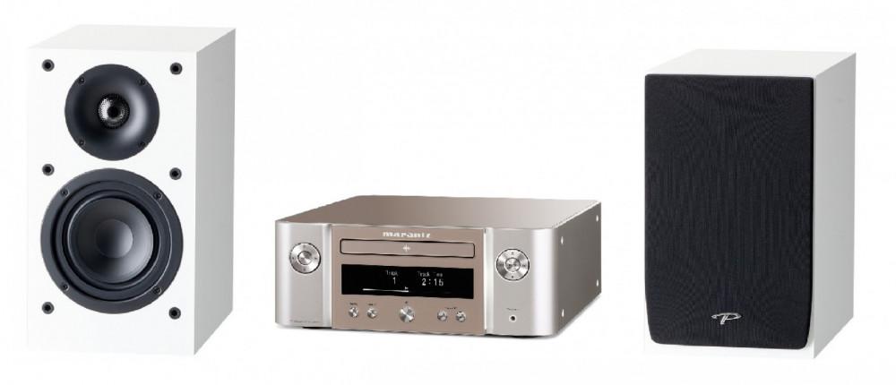 Marantz M-CR612 med Paradigm Atom Högtalare Silver med vita högtalare