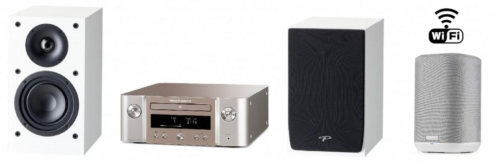 Marantz WiFi Stereo Paket + Denon Wifi extra rum ljud Silver med vita högtalare