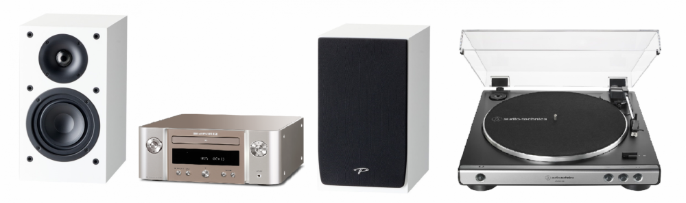 Marantz High-End Stereo Paket med Vinylspelare Silver med vita högtalare