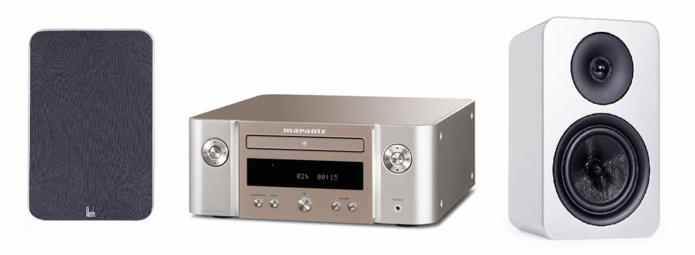 Marantz M-CR412 inkl Roth Audio Högtalare Silver med vita högtalare