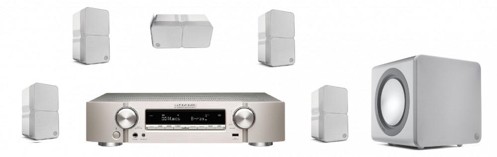 Marantz Slimmat 5.1 Hemmabiopaket med små minx 22 Högtalare Silver med Blank Vita högtalare