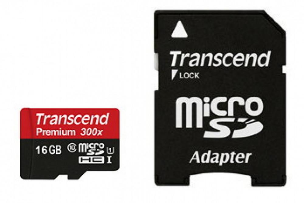 Transcend TRANSCEND Micro SDHC 16GB Class 10 Adapter